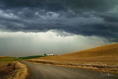 Palouse, farm, thunderstorm, clouds, drama, country road