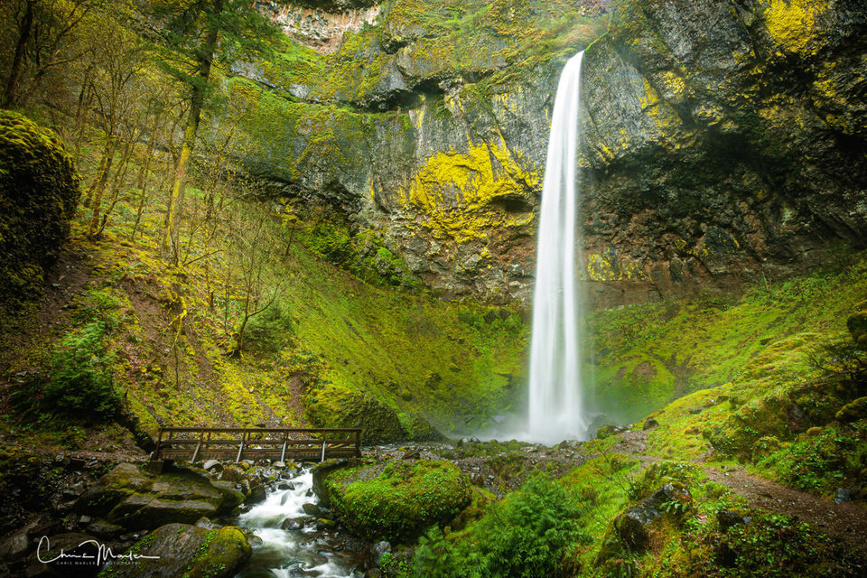 waterfall, Columbia river gorge, bridge, paradise, Oregon, Portland