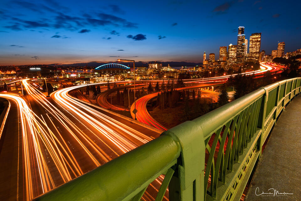 Seattle, Washington, night, sizzle, traffic, interstate, Jose Rizal Bridge, city, cityscape
