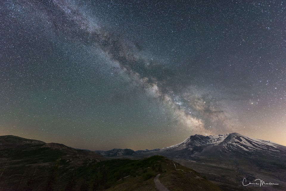 Mount St. Helens, Washington, eruption, night, sky, milky way, stars, night