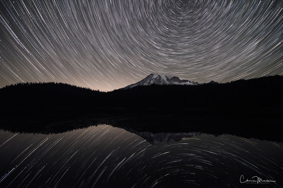 Mt. Rainier, Washington, mountain, star trails, Reflection Lake, astrophotography, north star, reflection, night, sky