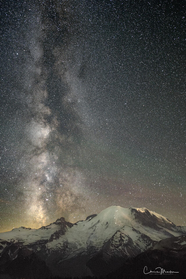 Mt. Rainier, Milky Way, galactic core, stars, climbers