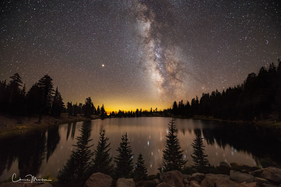 Milky Way, Jupiter, Lassen Volcanic, stars, lake, California, night, sky