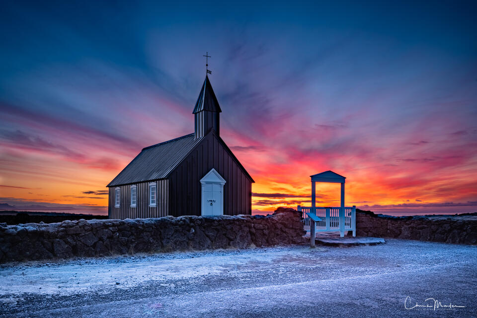 morning glory, Iceland, Snæfellsnes Peninsula, Budir Church, black church Iceland