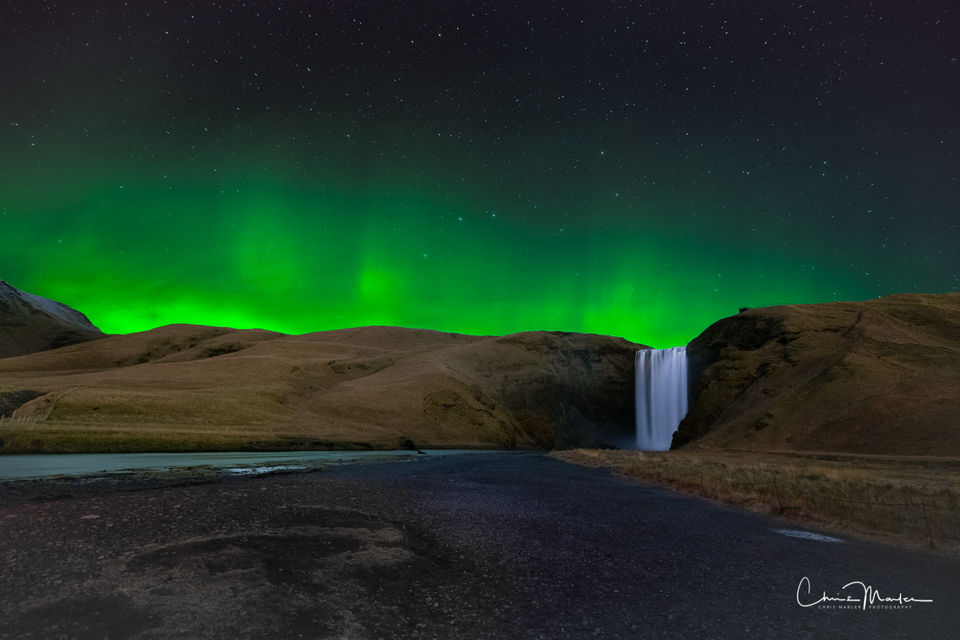 Aurora, Northern Lights, Skogafoss, waterfall, Iceland, green