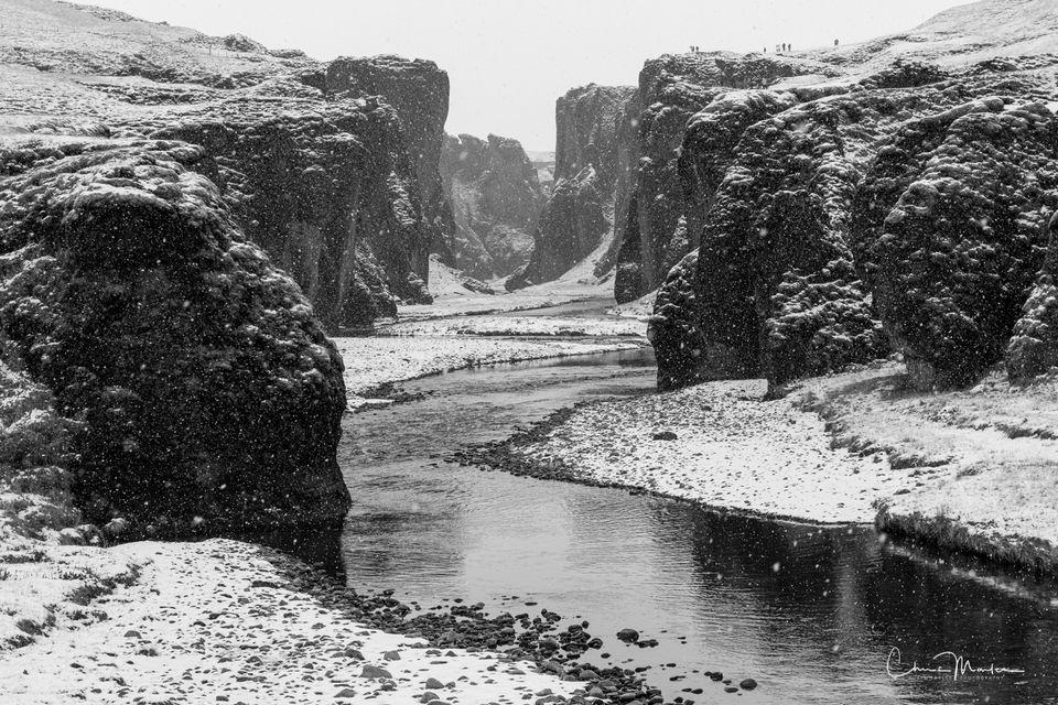 Iceland, Fjaorargljufur Canyon, snow, river