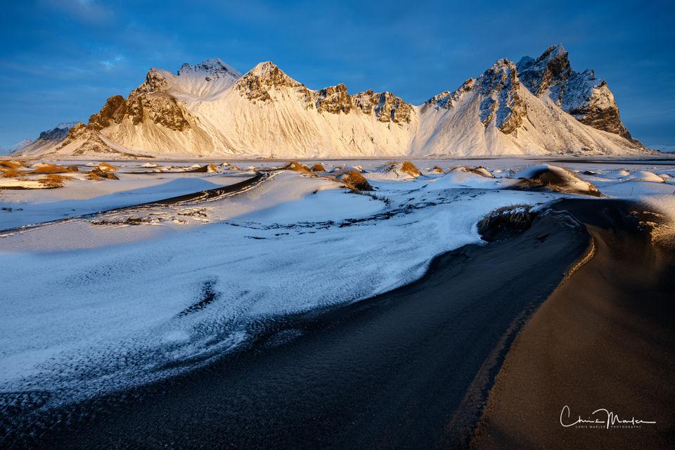 Vestrahorn, mountain, peaks, sand dune, first light, Iceland, Vatnajokull