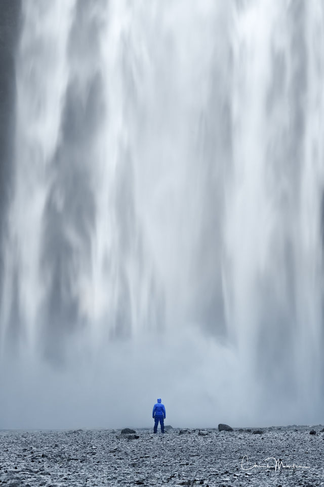 Iceland, waterfall, inferior, small, Skogafoss, person, vertical