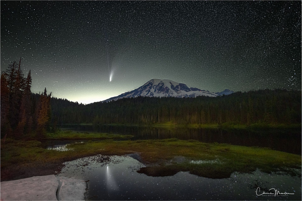 Mt. Rainier National Park, Reflection Lake, Neowise, comet, heaven on earth, celestial, inspirational