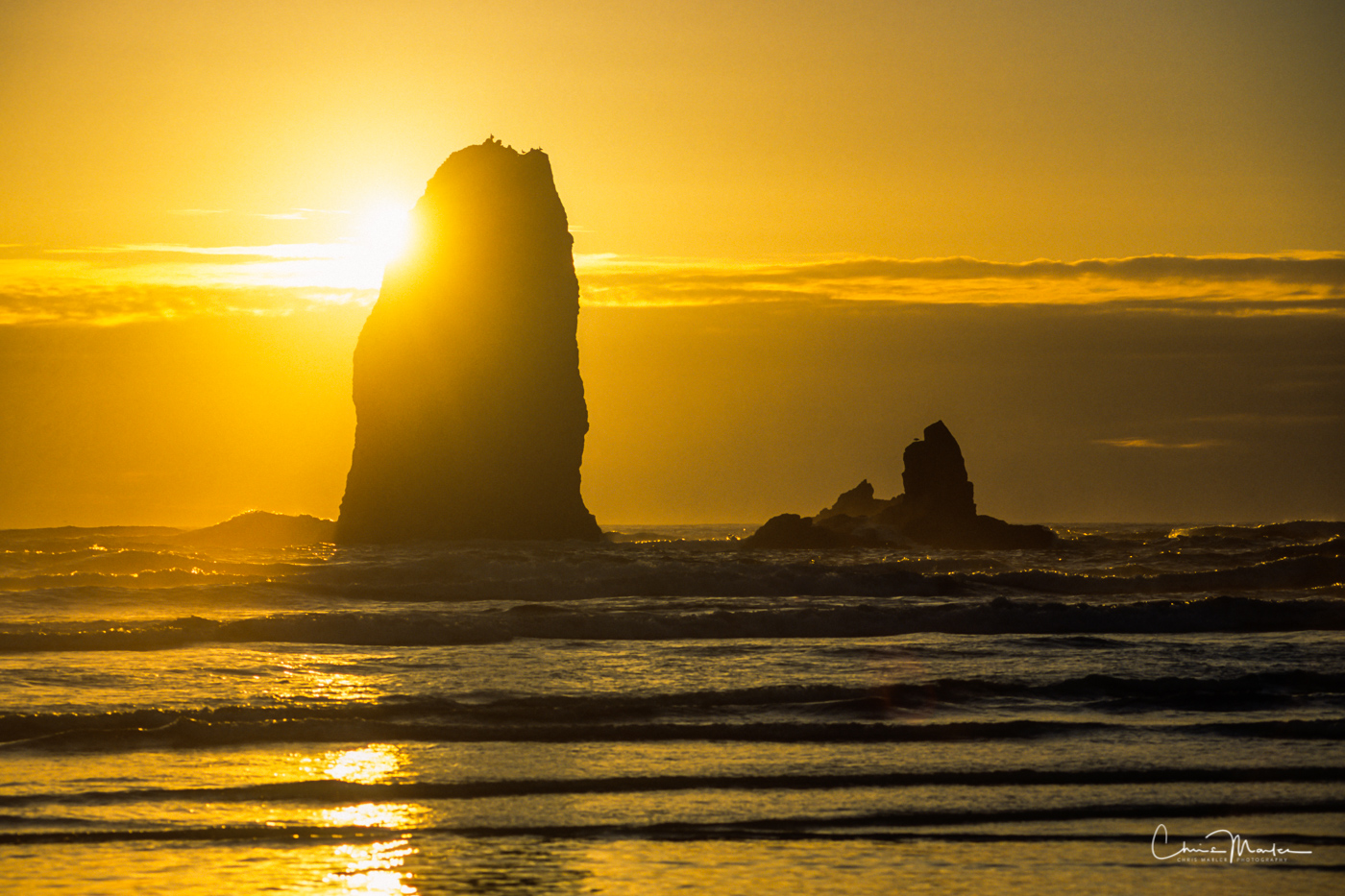 ocean, view, Sea stack, Cannon Beach, Sunset, Golden Hour, Oregon, Beach, photo