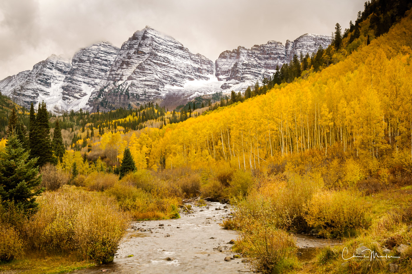 Maroon Bells in the Elk Mountains of Colorado is one of the most photographed mountain peaks in the country, especially when...