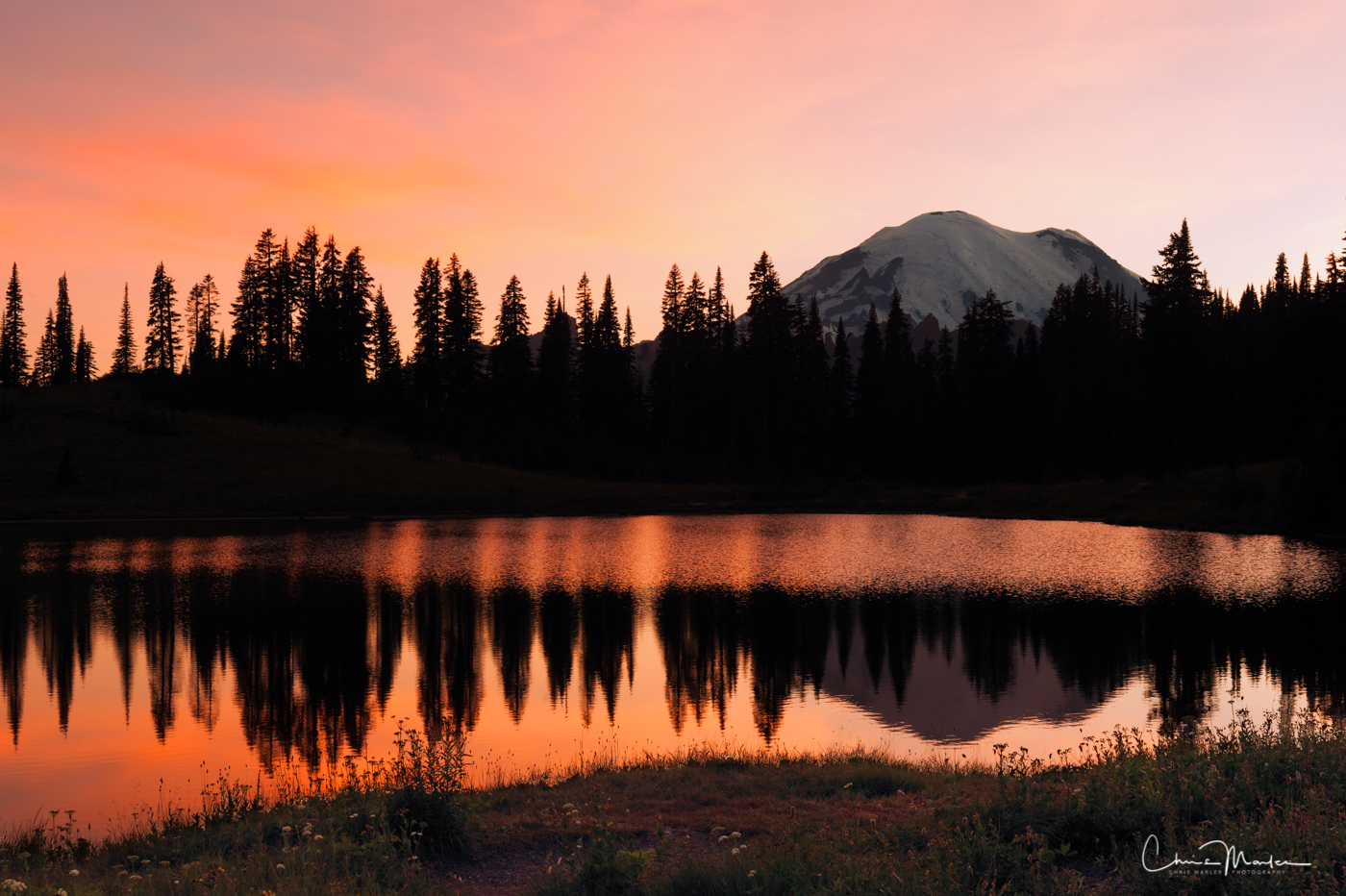 last light, Tipsoo Lake, mount Rainier, mount Rainier sunset, photo