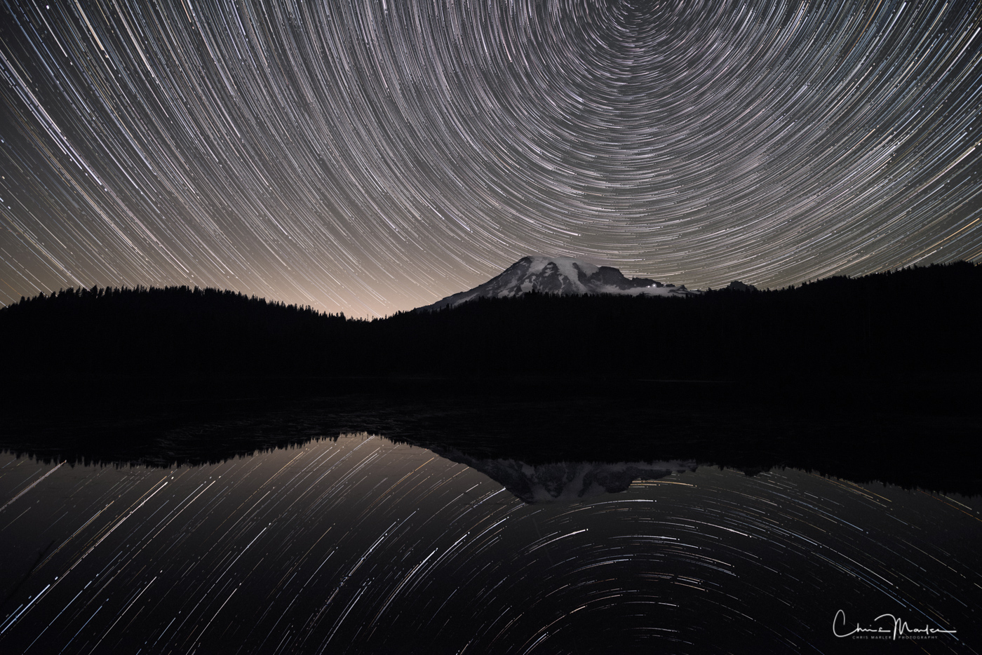 Mt. Rainier, Washington, mountain, star trails, Reflection Lake, astrophotography, north star, reflection, night, sky, photo