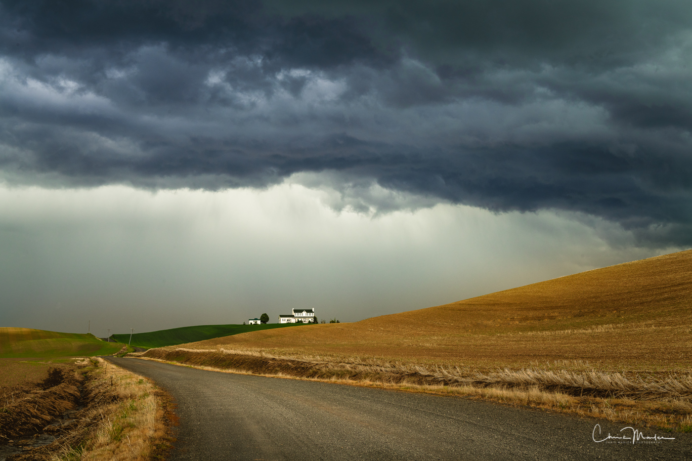 Palouse, farm, thunderstorm, clouds, drama, country road, photo