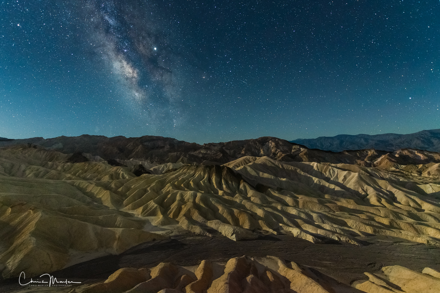 moonlight over Zabriskie, Zabriskie Point, death valley at night, death valley temperatures, higher power, photo