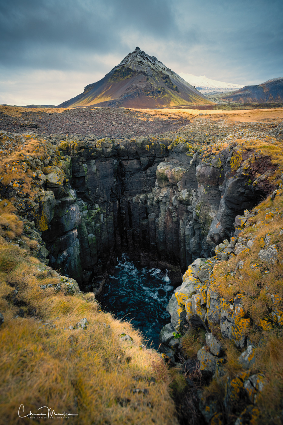 watch your step, Iceland, Snaefellsnes Peninsula, Arnarstapi, vertical print, photo