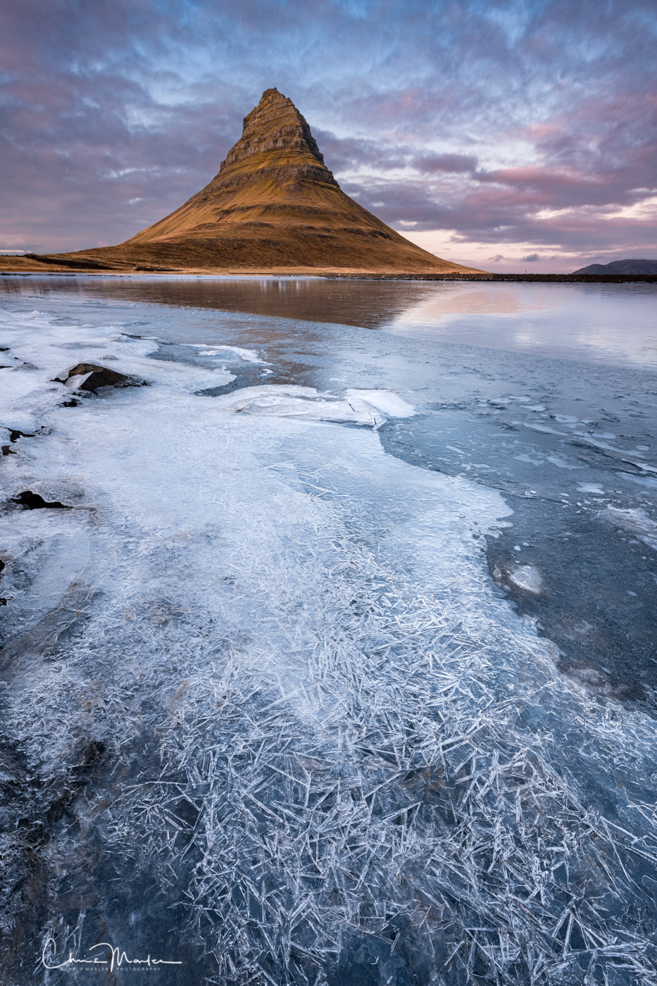 Kirkjufell, Iceland, ice, frozen, vertical, photo