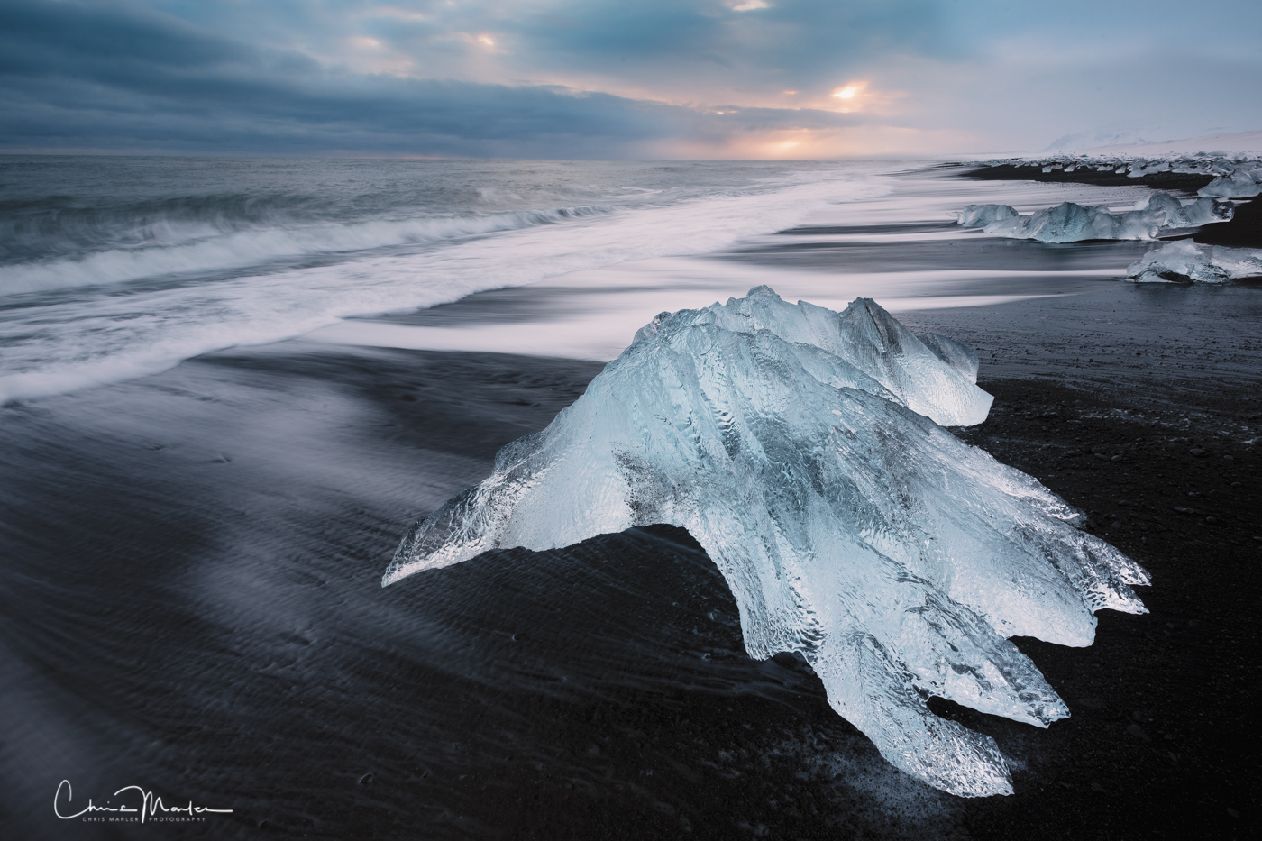 Some of the icebergs on Iceland's Diamond Beach seem to take on shapes or move as if they had a mind of their own.  Take this...
