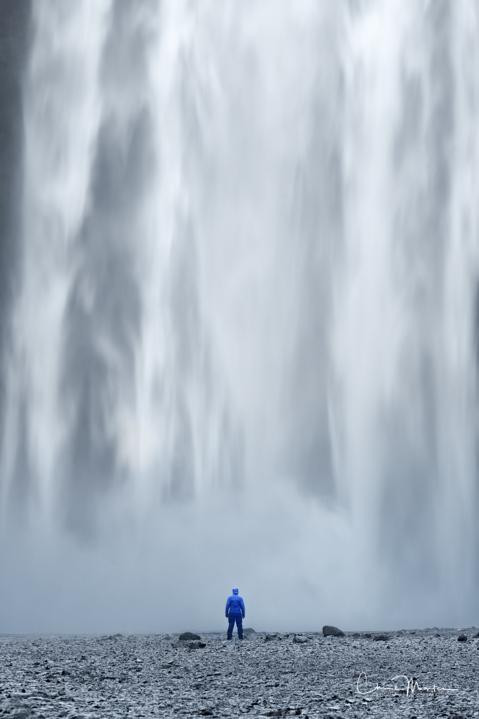 Iceland, waterfall, inferior, small, Skogafoss, person, vertical, photo