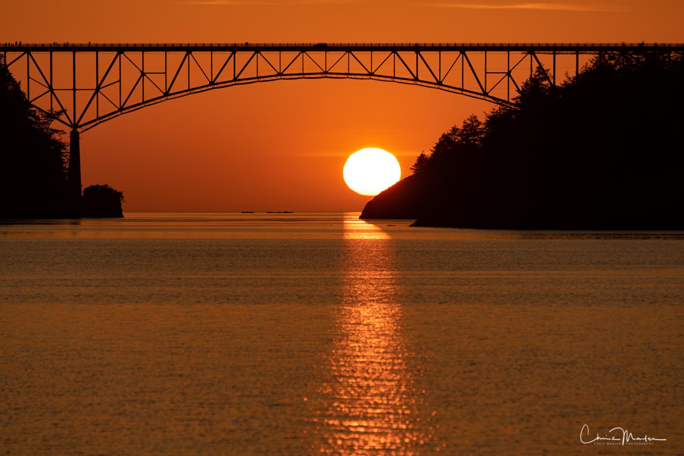 Deception Pass, bridge, sunset, Anacortes, washington, photo