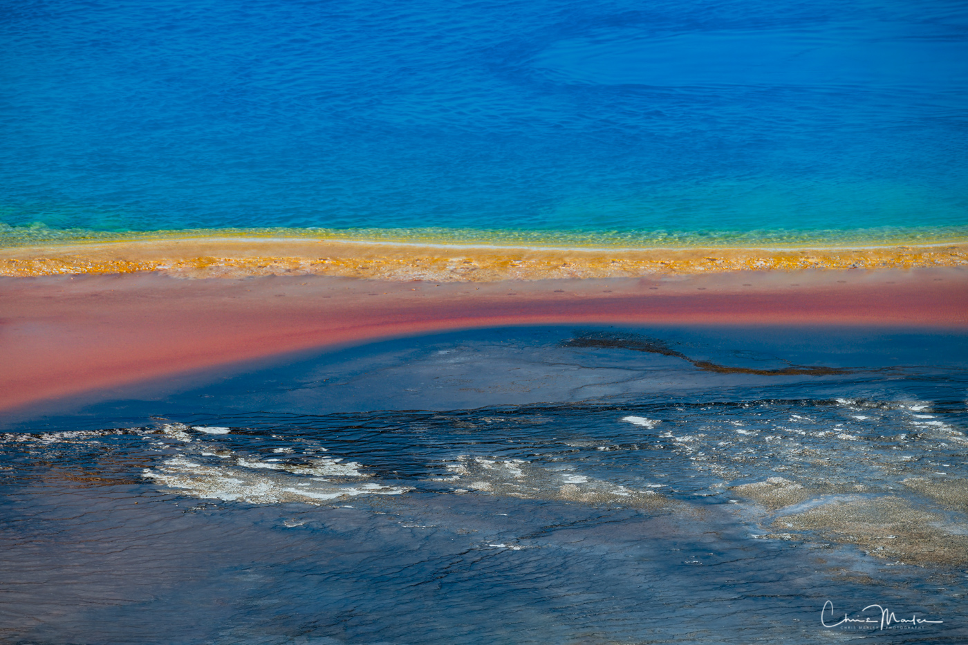 The Grand Prismatic Spring in Yellowstone Geyser Basin is kaleidoscope of colors.  It's the third largest spring in the world...