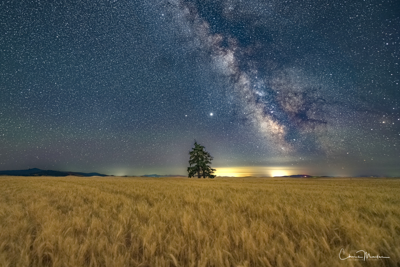 Milky Way rising above the Palouse country in eastern Washington.  Jupiter and Saturn can be seen directly above the lone tree...